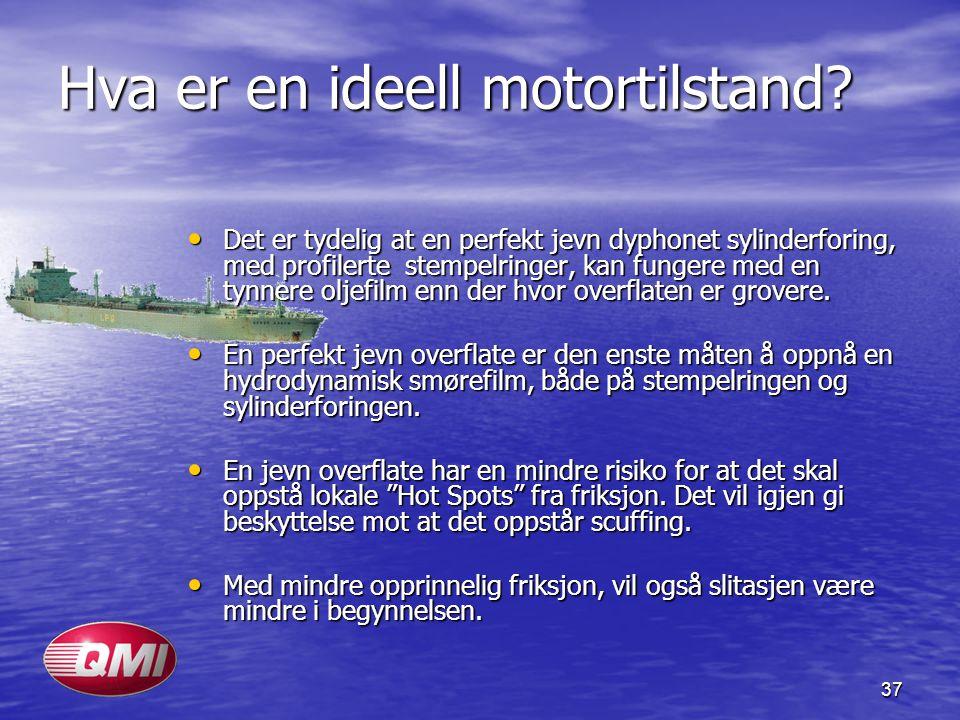 37 Hva er en ideell motortilstand? Det er tydelig at en perfekt jevn dyphonet sylinderforing, med profilerte stempelringer, kan fungere med en tynnere