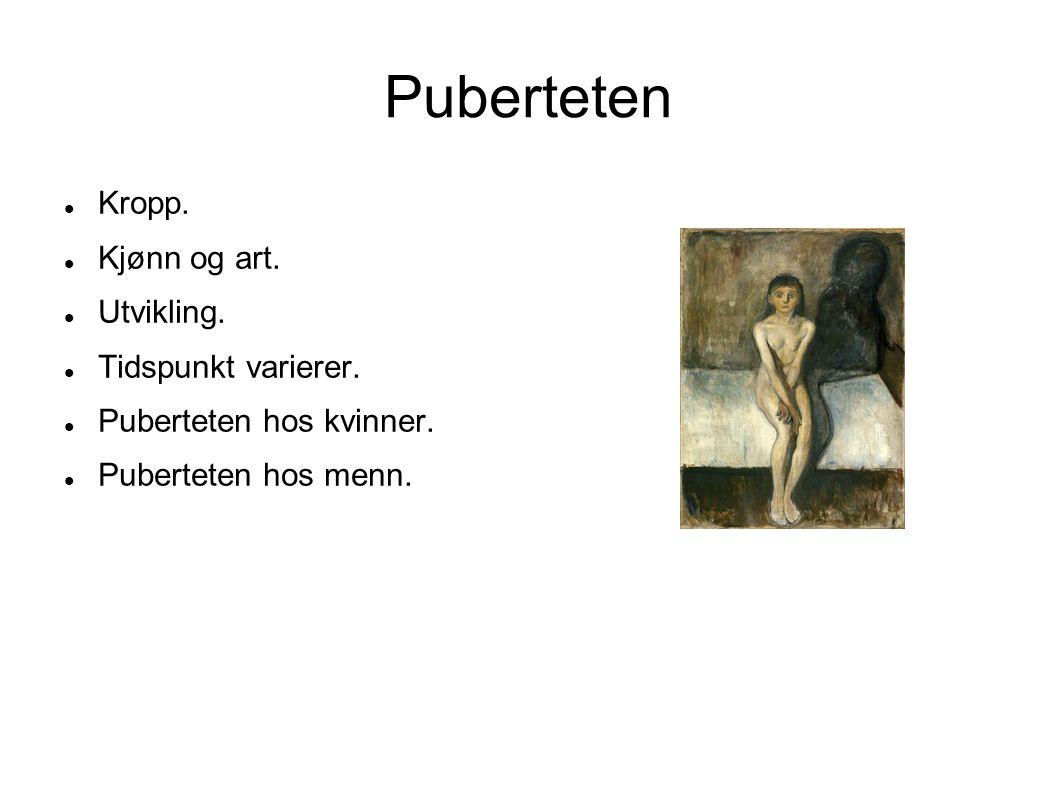 Puberteten Kropp. Kjønn og art. Utvikling. Tidspunkt varierer. Puberteten hos kvinner. Puberteten hos menn.