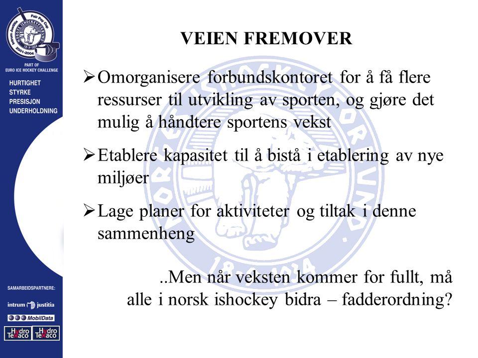 VEIEN FREMOVER  Omorganisere forbundskontoret for å få flere ressurser til utvikling av sporten, og gjøre det mulig å håndtere sportens vekst  Etablere kapasitet til å bistå i etablering av nye miljøer  Lage planer for aktiviteter og tiltak i denne sammenheng..Men når veksten kommer for fullt, må alle i norsk ishockey bidra – fadderordning