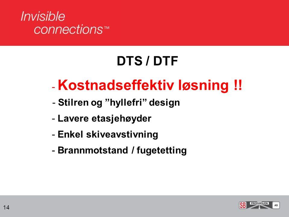 "14 DTS / DTF - Kostnadseffektiv løsning !! - Stilren og ""hyllefri"" design - Lavere etasjehøyder - Enkel skiveavstivning - Brannmotstand / fugetetting"