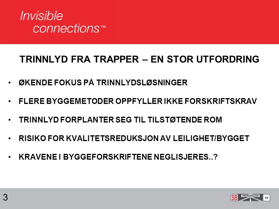 TRINNLYD FRA TRAPPER – EN STOR UTFORDRING ØKENDE FOKUS PÅ TRINNLYDSLØSNINGER FLERE BYGGEMETODER OPPFYLLER IKKE FORSKRIFTSKRAV TRINNLYD FORPLANTER SEG TIL TILSTØTENDE ROM RISIKO FOR KVALITETSREDUKSJON AV LEILIGHET/BYGGET KRAVENE I BYGGEFORSKRIFTENE NEGLISJERES...