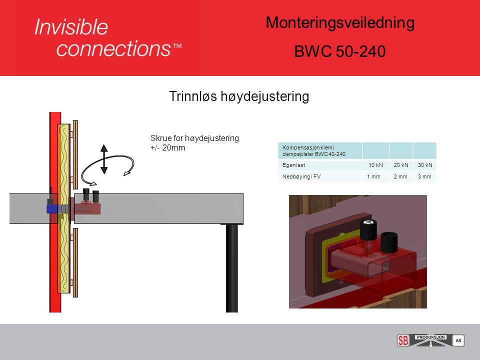 Monteringsveiledning BWC 50-240 Trinnløs høydejustering Kompensasjon klem i dempeplater BWC 40-240 Egenlast 10 kN20 kN30 kN Nedbøying i FV1 mm2 mm3 mm Skrue for høydejustering +/- 20mm