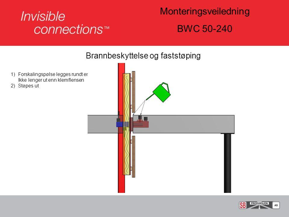 Monteringsveiledning BWC 50-240 Brannbeskyttelse og faststøping 1)Forskalingspølse legges rundt enheten.