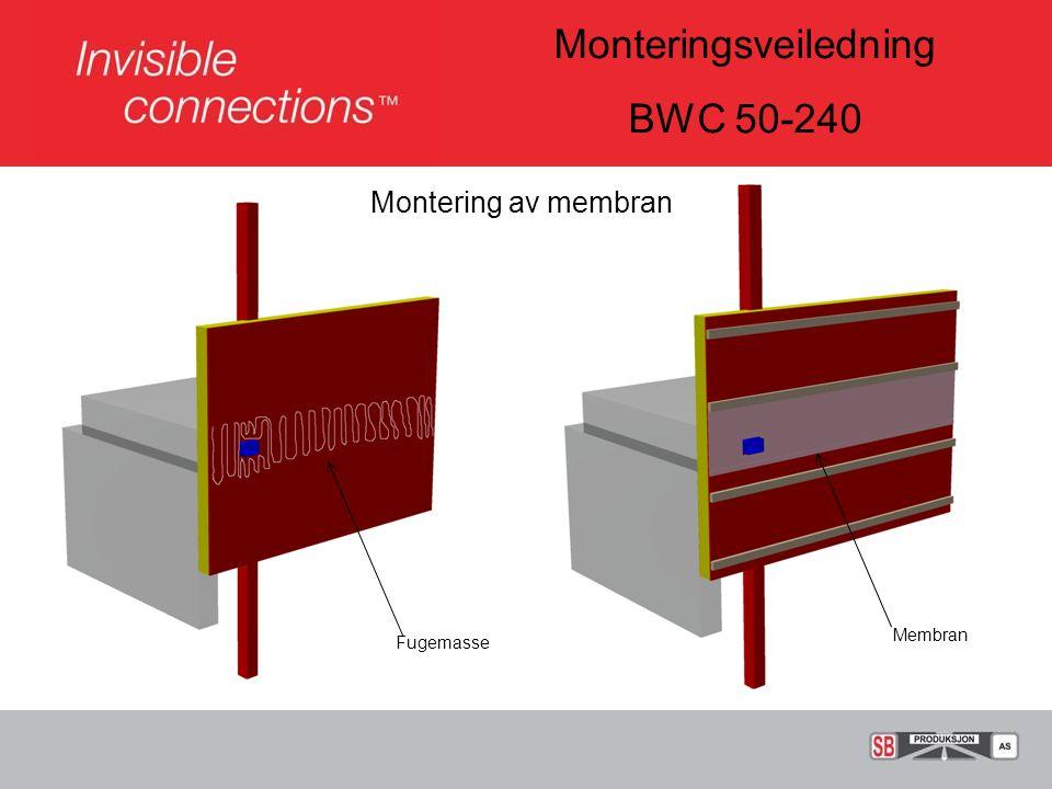 Monteringsveiledning BWC 50-240 Montering av klemflens, låseflens og innerrør Klemflens med fugemasse Låseflens med bolt, M12 Komplett innerrør