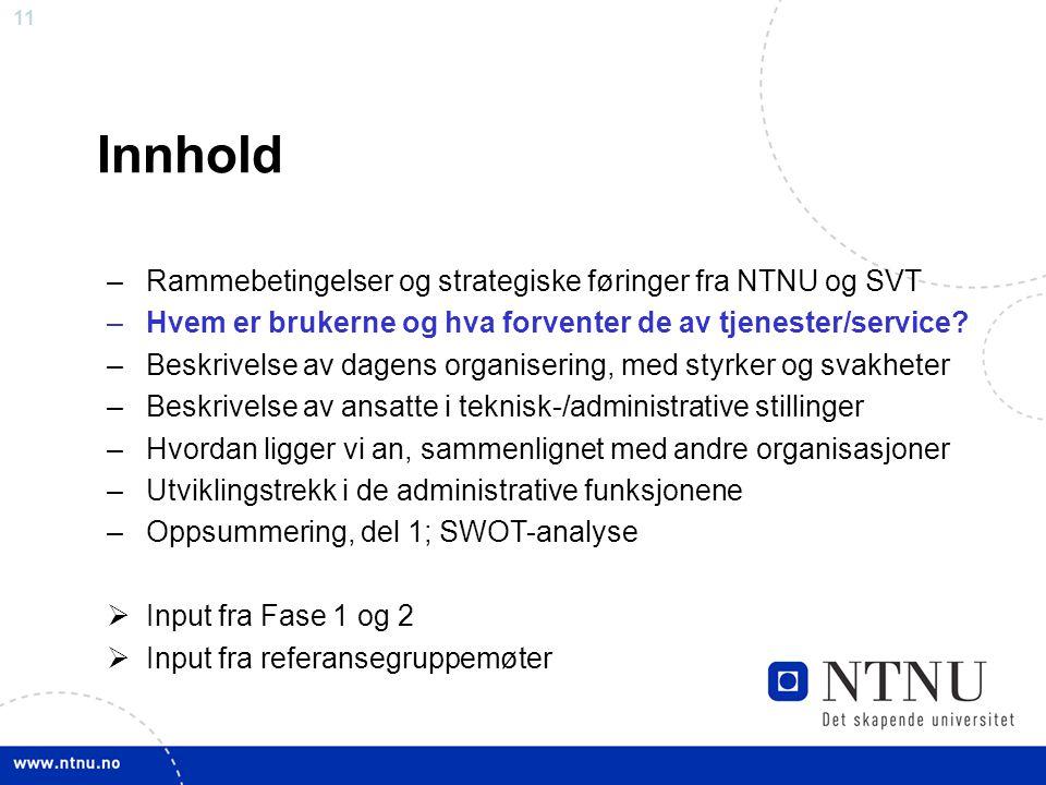 11 Innhold –Rammebetingelser og strategiske føringer fra NTNU og SVT –Hvem er brukerne og hva forventer de av tjenester/service? –Beskrivelse av dagen