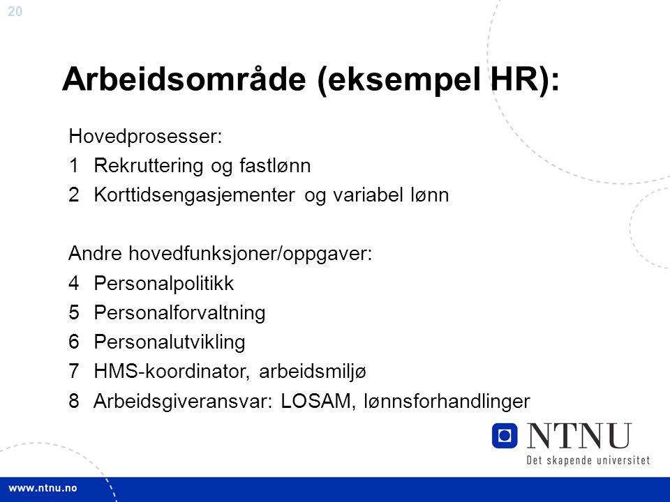 20 Arbeidsområde (eksempel HR): Hovedprosesser: 1Rekruttering og fastlønn 2Korttidsengasjementer og variabel lønn Andre hovedfunksjoner/oppgaver: 4Per