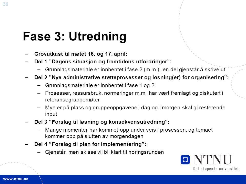 """36 Fase 3: Utredning –Grovutkast til møtet 16. og 17. april: –Del 1 """"Dagens situasjon og fremtidens utfordringer"""": –Grunnlagsmateriale er innhentet i"""