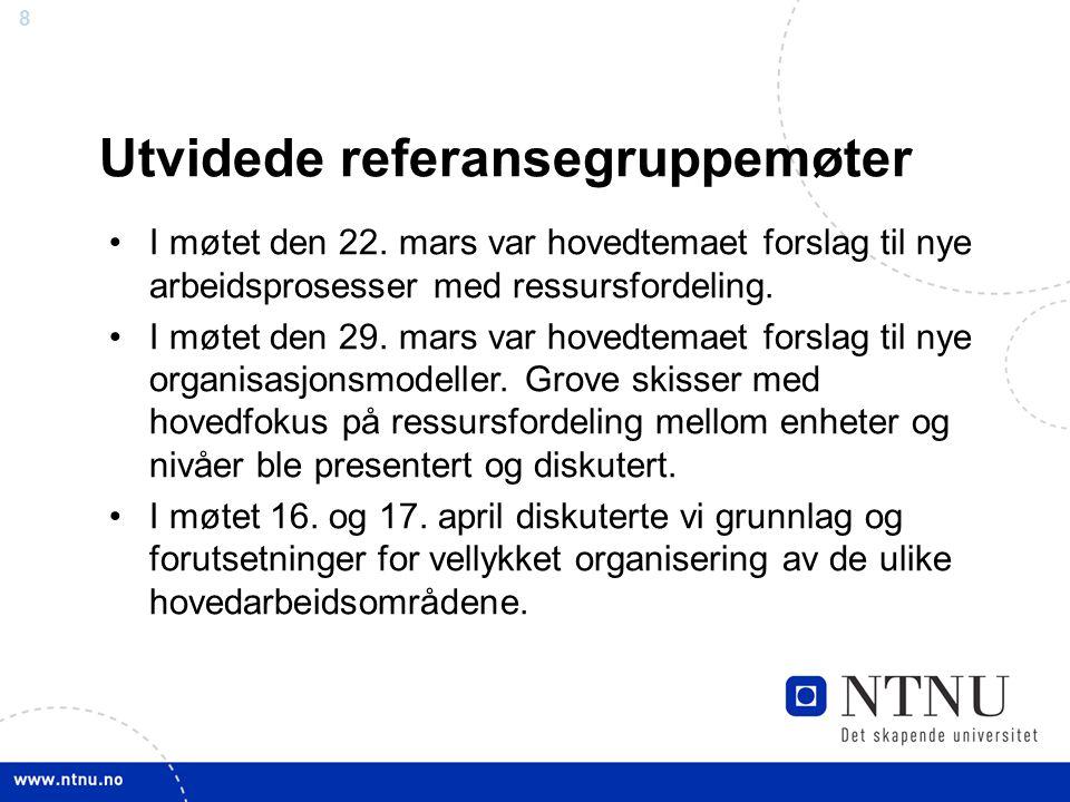 8 Utvidede referansegruppemøter I møtet den 22. mars var hovedtemaet forslag til nye arbeidsprosesser med ressursfordeling. I møtet den 29. mars var h