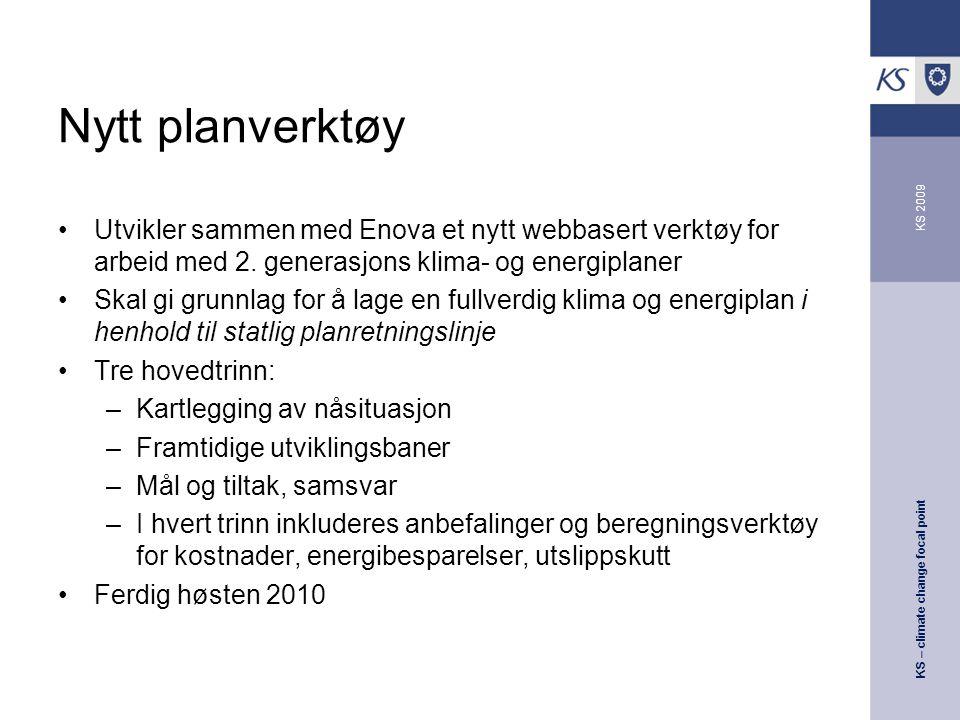 KS – climate change focal point KS 2009 Nytt planverktøy Utvikler sammen med Enova et nytt webbasert verktøy for arbeid med 2.