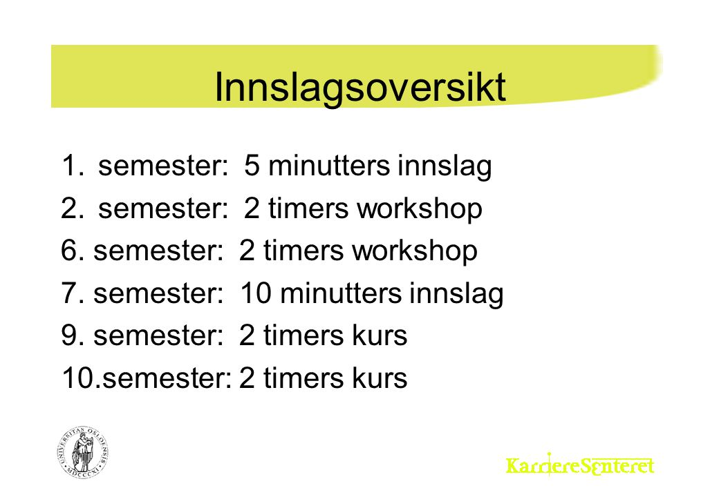 Innslagsoversikt 1.semester: 5 minutters innslag 2.semester: 2 timers workshop 6. semester: 2 timers workshop 7. semester: 10 minutters innslag 9. sem