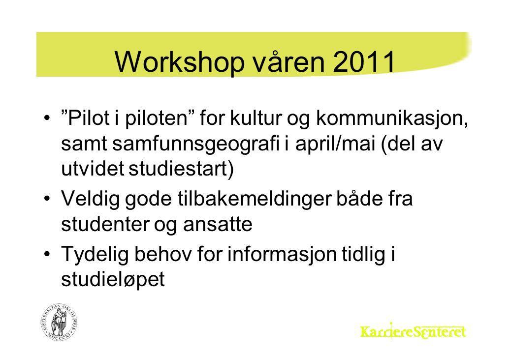 """Workshop våren 2011 """"Pilot i piloten"""" for kultur og kommunikasjon, samt samfunnsgeografi i april/mai (del av utvidet studiestart) Veldig gode tilbakem"""