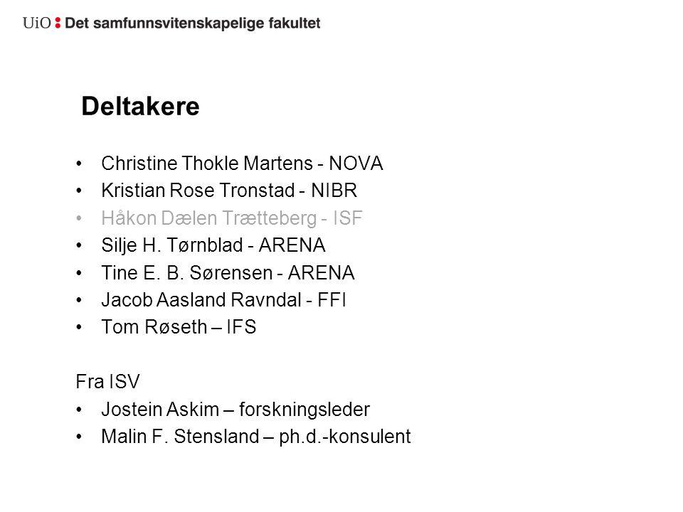 Deltakere Christine Thokle Martens - NOVA Kristian Rose Tronstad - NIBR Håkon Dælen Trætteberg - ISF Silje H. Tørnblad - ARENA Tine E. B. Sørensen - A