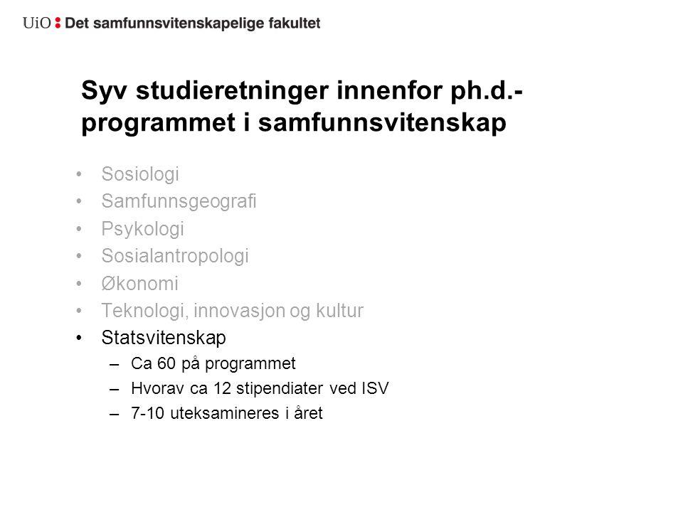 Syv studieretninger innenfor ph.d.- programmet i samfunnsvitenskap Sosiologi Samfunnsgeografi Psykologi Sosialantropologi Økonomi Teknologi, innovasjo