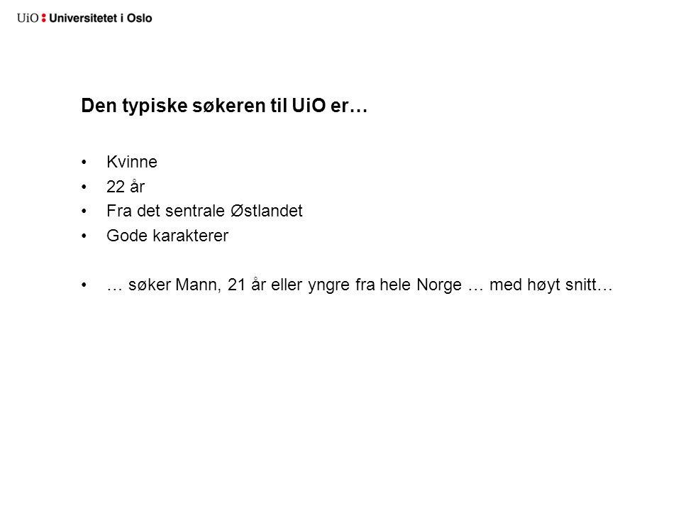 Den typiske søkeren til UiO er… Kvinne 22 år Fra det sentrale Østlandet Gode karakterer … søker Mann, 21 år eller yngre fra hele Norge … med høyt snitt…