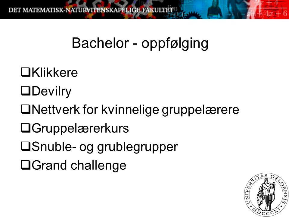 Bachelor - oppfølging  Klikkere  Devilry  Nettverk for kvinnelige gruppelærere  Gruppelærerkurs  Snuble- og grublegrupper  Grand challenge 3