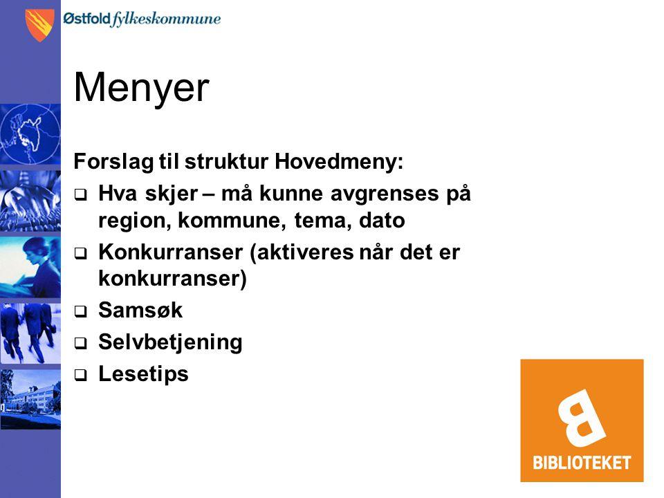 Menyer Forslag til struktur Hovedmeny:  Hva skjer – må kunne avgrenses på region, kommune, tema, dato  Konkurranser (aktiveres når det er konkurrans