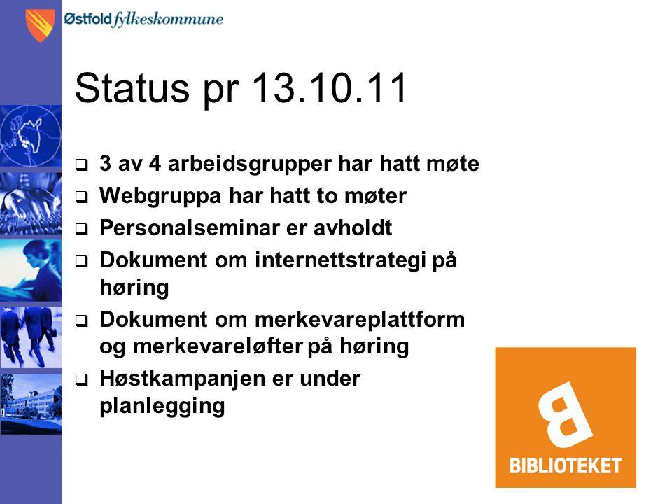 Status pr 13.10.11  3 av 4 arbeidsgrupper har hatt møte  Webgruppa har hatt to møter  Personalseminar er avholdt  Dokument om internettstrategi på