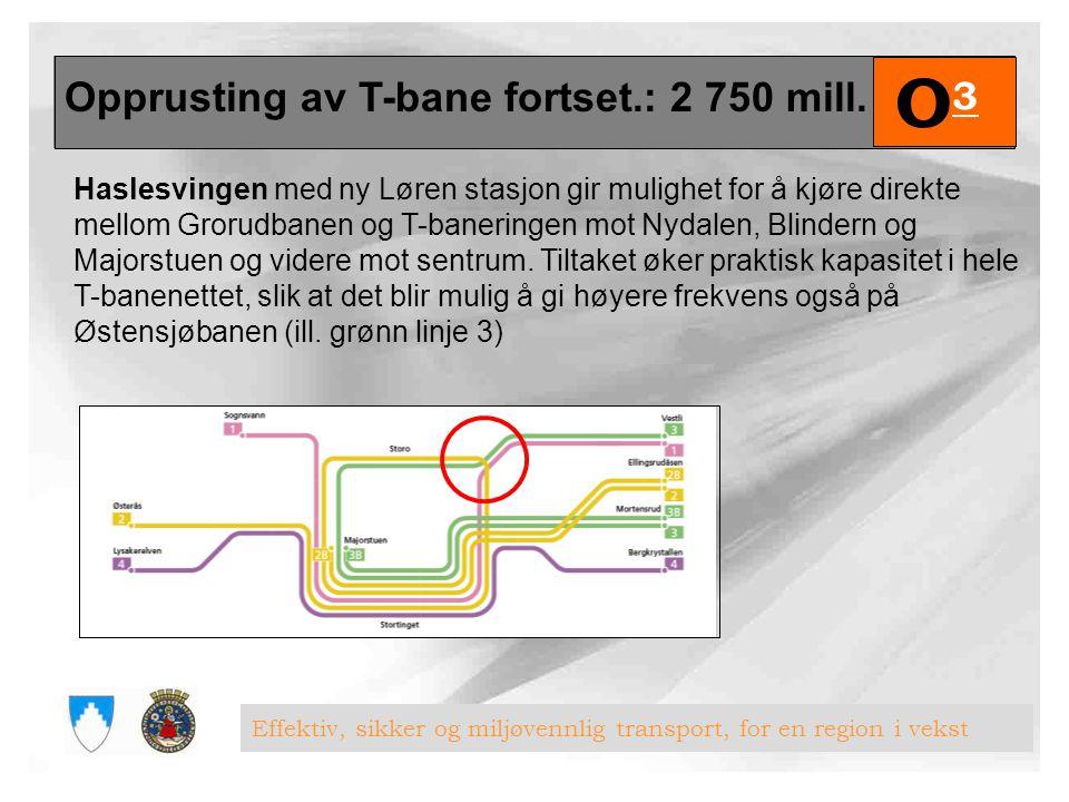 Opprusting av T-bane fortset.: 2 750 mill.