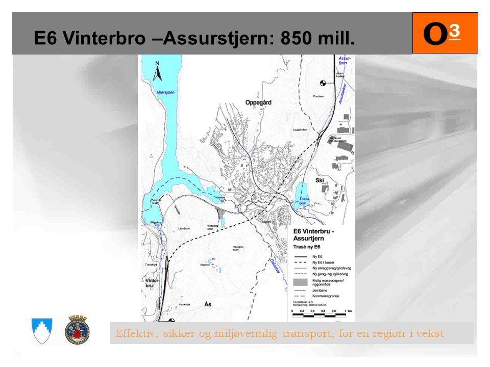 E6 Vinterbro –Assurstjern: 850 mill.
