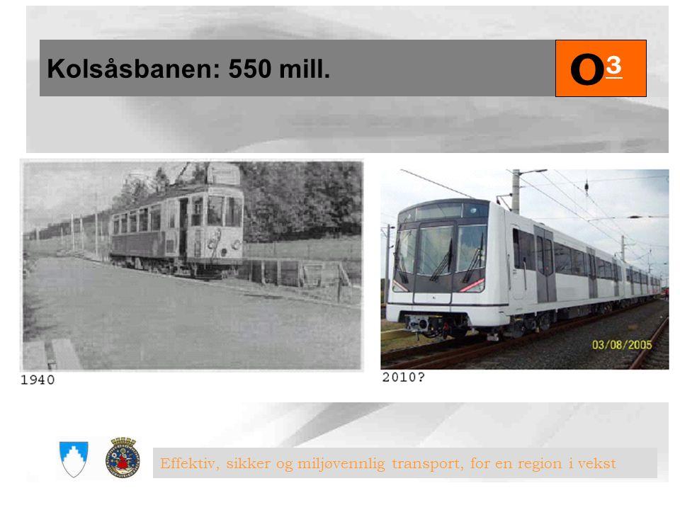 Kolsåsbanen: 550 mill. O3O3 Effektiv, sikker og miljøvennlig transport, for en region i vekst