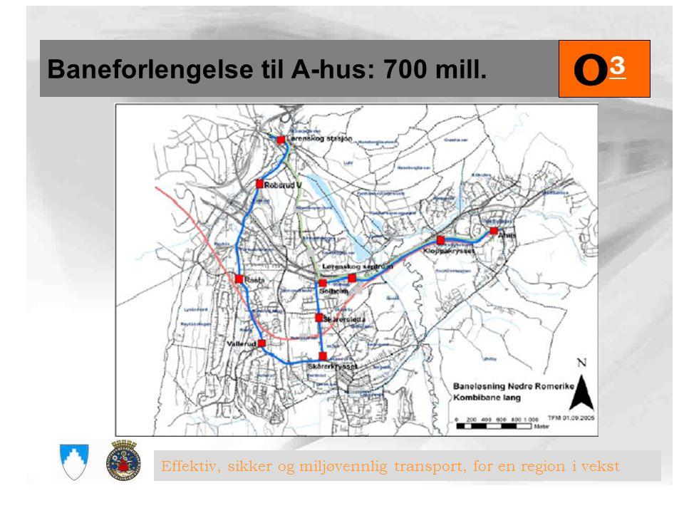 Baneforlengelse til A-hus: 700 mill. O3O3 Effektiv, sikker og miljøvennlig transport, for en region i vekst