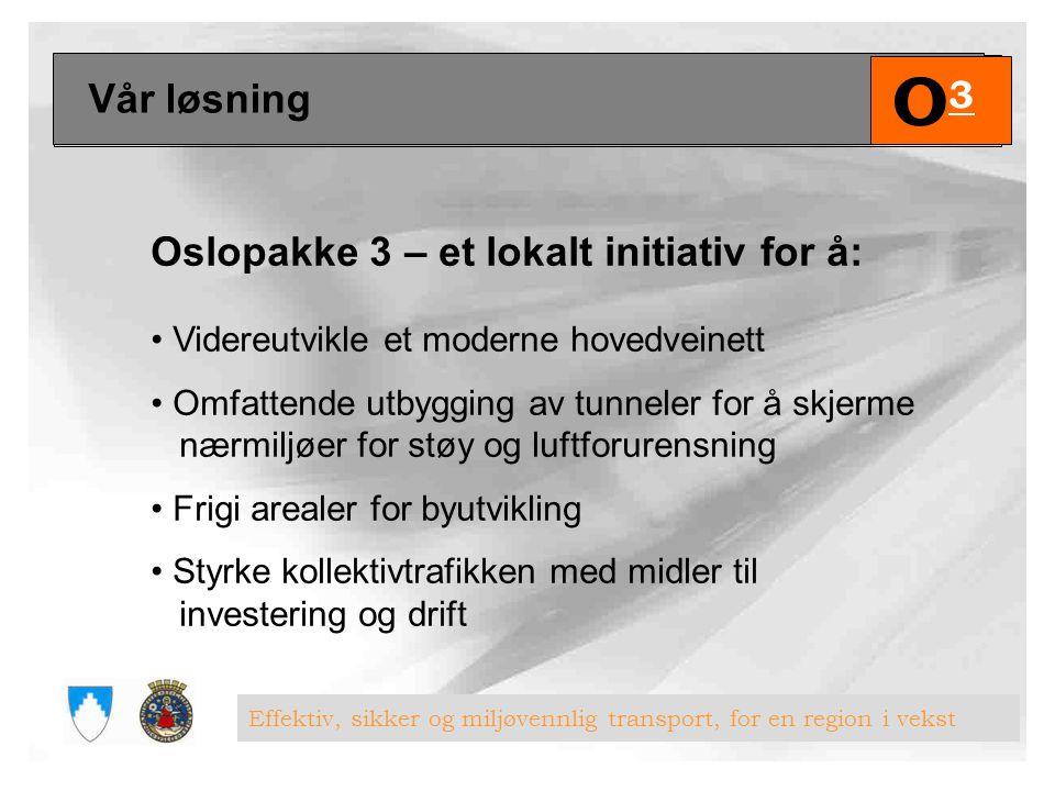 Uten Oslopakke 3 Med Oslopakke 3 Stamvei4,8 Øvrig riksvei7,6 Dagens bomring5,530,7 Snitt ved Blommmenholm-4,8 Ekstra tunge kjøretøyer-3,4 75 øre/koll.reise0,42,1 Sum18,353,4 O3O3 Effektiv, sikker og miljøvennlig transport, for en region i vekst Økonomiske rammer 2008–2027, mrd kr