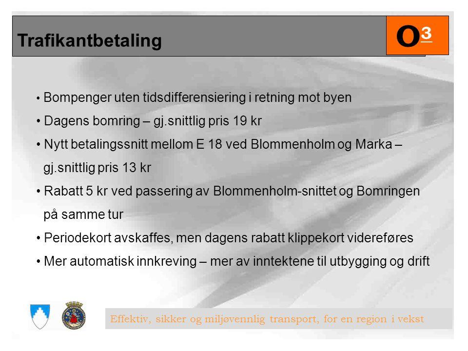 Oslopakke 3 O3O3 Effektiv, sikker og miljøvennlig transport, for en region i vekst