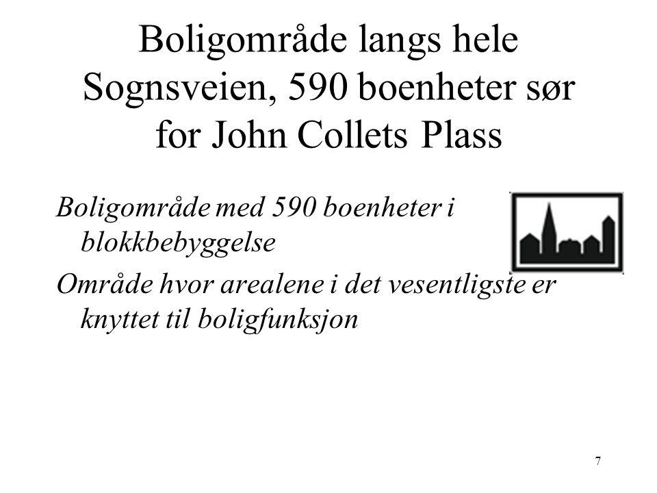 7 Boligområde langs hele Sognsveien, 590 boenheter sør for John Collets Plass Boligområde med 590 boenheter i blokkbebyggelse Område hvor arealene i det vesentligste er knyttet til boligfunksjon