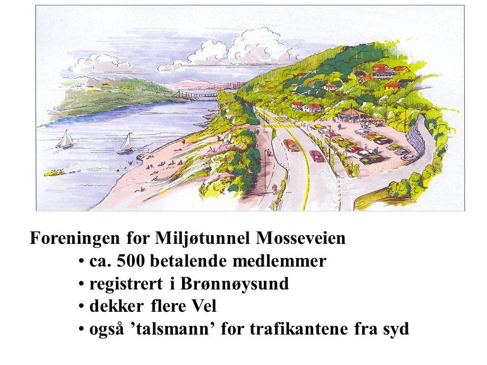 Foreningen for Miljøtunnel Mosseveien ca. 500 betalende medlemmer registrert i Brønnøysund dekker flere Vel også 'talsmann' for trafikantene fra syd