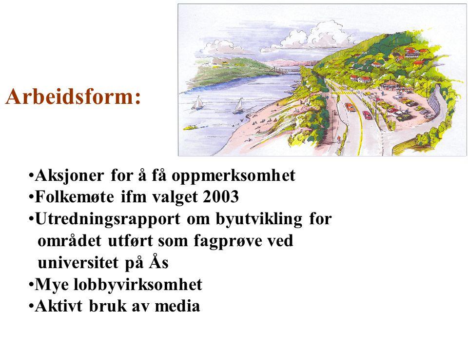 Aksjoner for å få oppmerksomhet Folkemøte ifm valget 2003 Utredningsrapport om byutvikling for området utført som fagprøve ved universitet på Ås Mye l