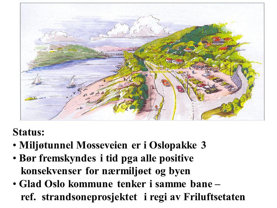 Status: Miljøtunnel Mosseveien er i Oslopakke 3 Bør fremskyndes i tid pga alle positive konsekvenser for nærmiljøet og byen Glad Oslo kommune tenker i