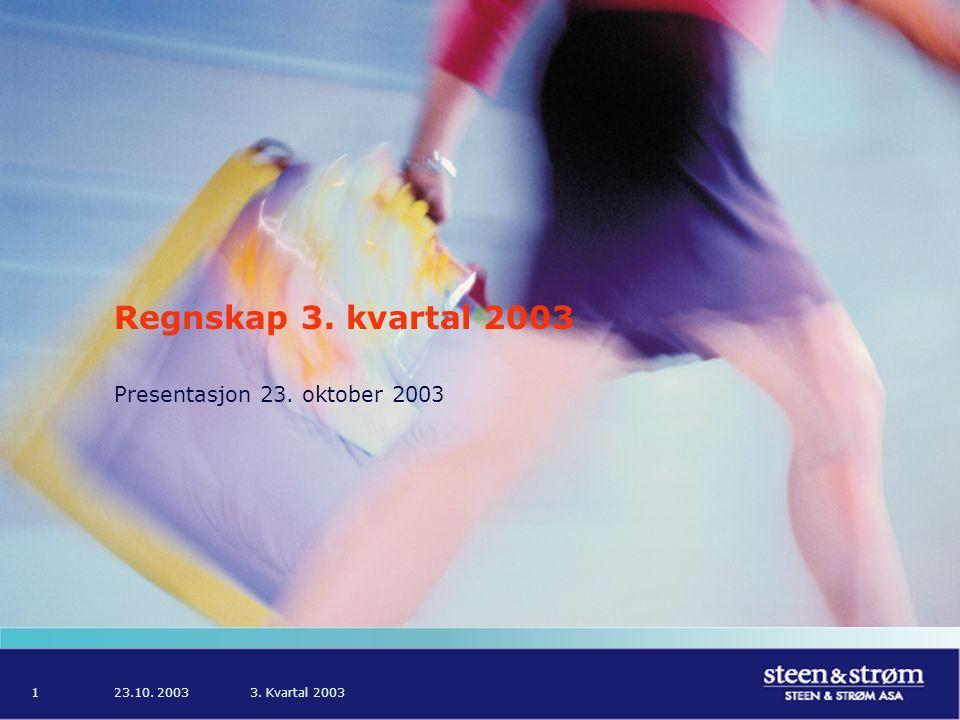 23.10. 20033. Kvartal 20031 Regnskap 3. kvartal 2003 Presentasjon 23. oktober 2003