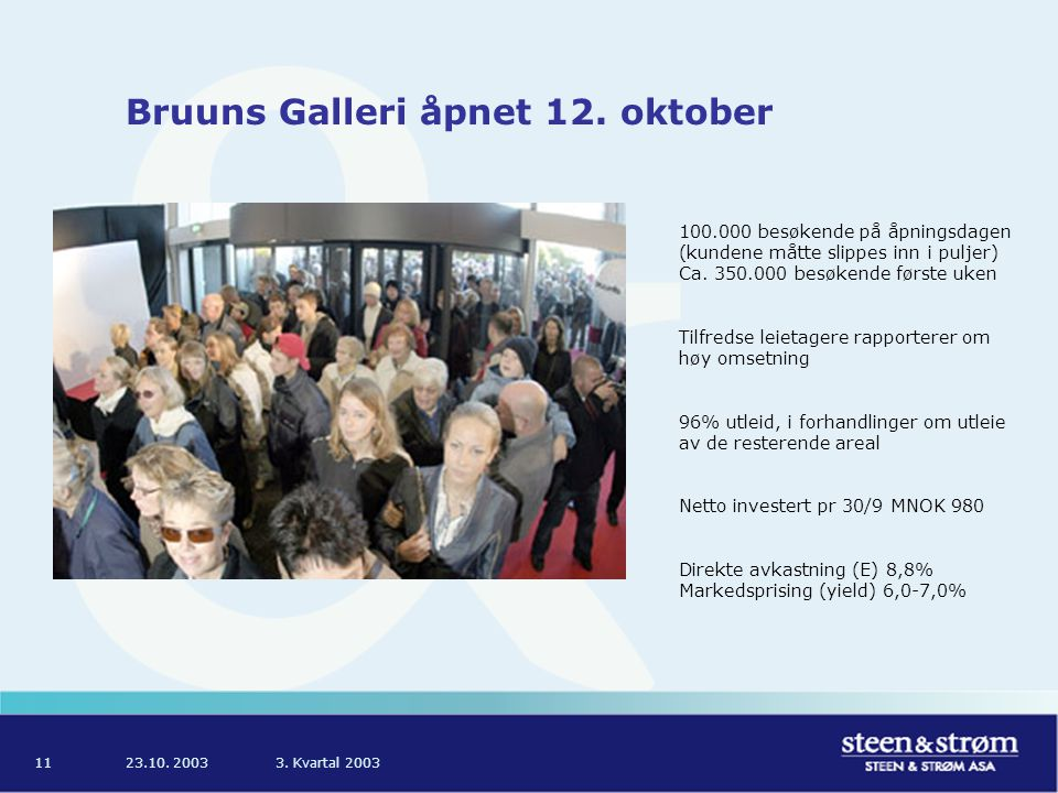 23.10. 20033. Kvartal 200311 Bruuns Galleri åpnet 12.