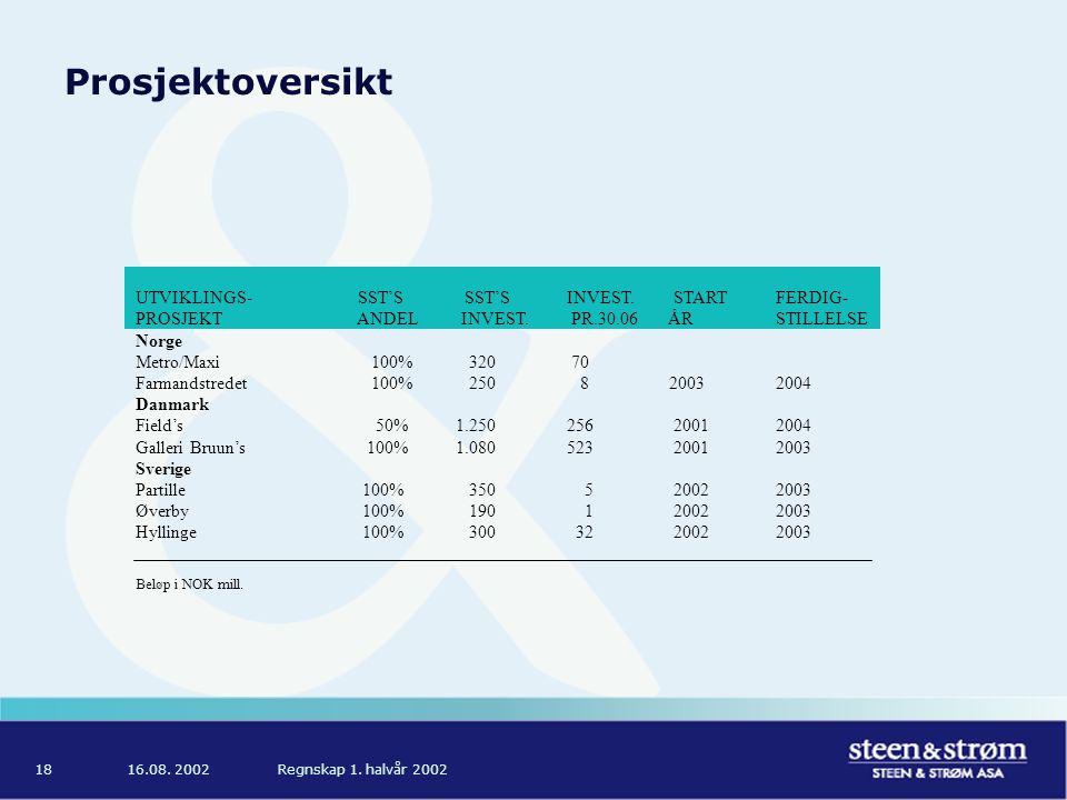 16.08. 2002Regnskap 1. halvår 200218 Prosjektoversikt UTVIKLINGS- SST'S SST'S INVEST.