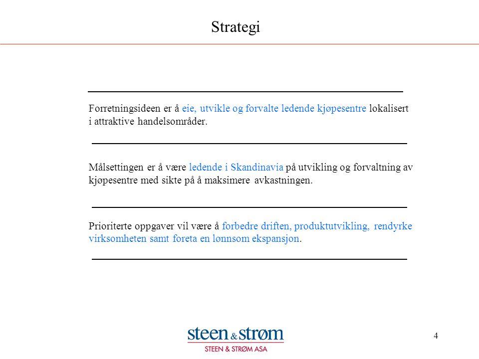 4 Strategi Forretningsideen er å eie, utvikle og forvalte ledende kjøpesentre lokalisert i attraktive handelsområder. Målsettingen er å være ledende i