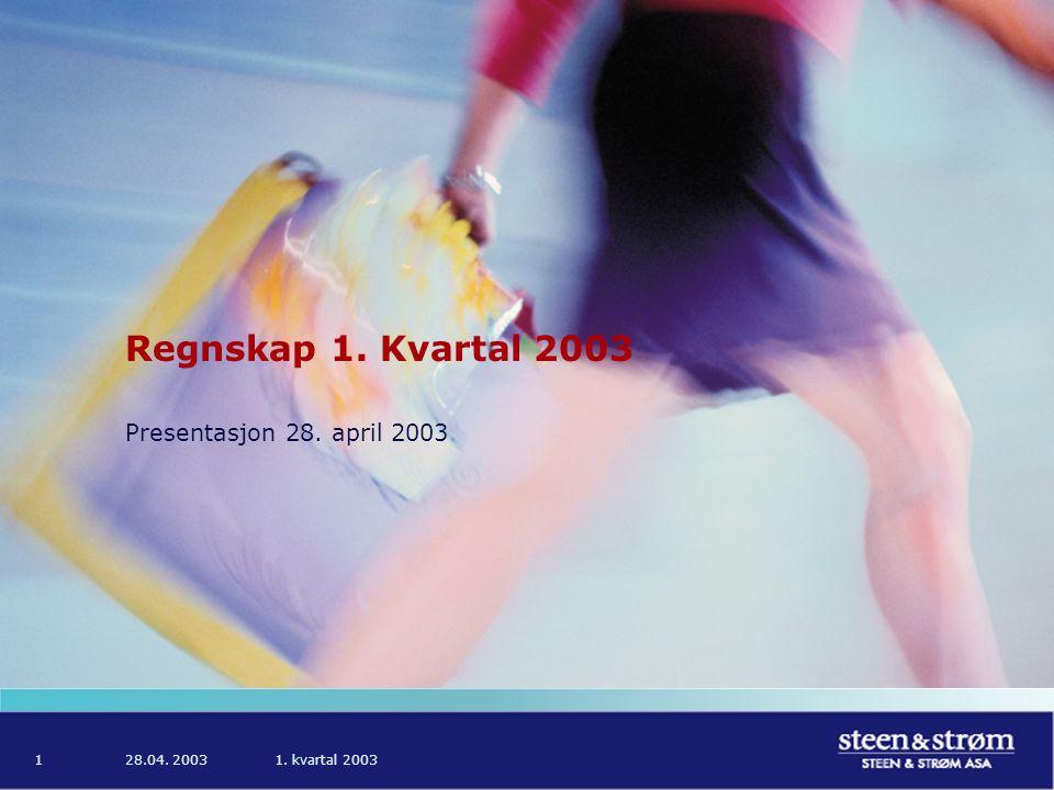 28.04. 20031. kvartal 20031 Regnskap 1. Kvartal 2003 Presentasjon 28. april 2003
