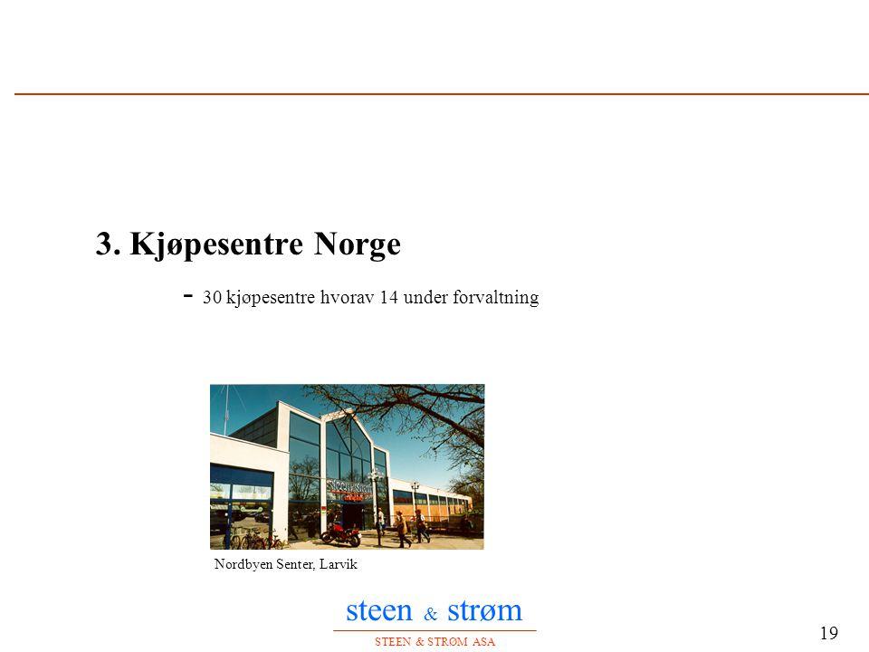 steen & strøm STEEN & STRØM ASA 19 3. Kjøpesentre Norge - 30 kjøpesentre hvorav 14 under forvaltning Nordbyen Senter, Larvik