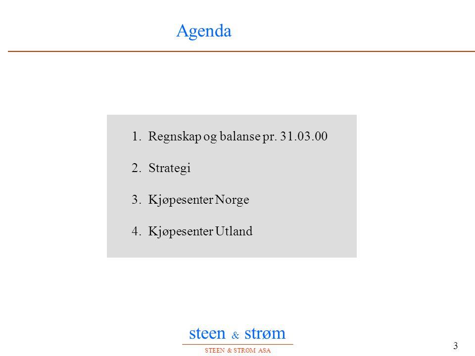 steen & strøm STEEN & STRØM ASA 3 Agenda 1. Regnskap og balanse pr. 31.03.00 2. Strategi 3. Kjøpesenter Norge 4. Kjøpesenter Utland