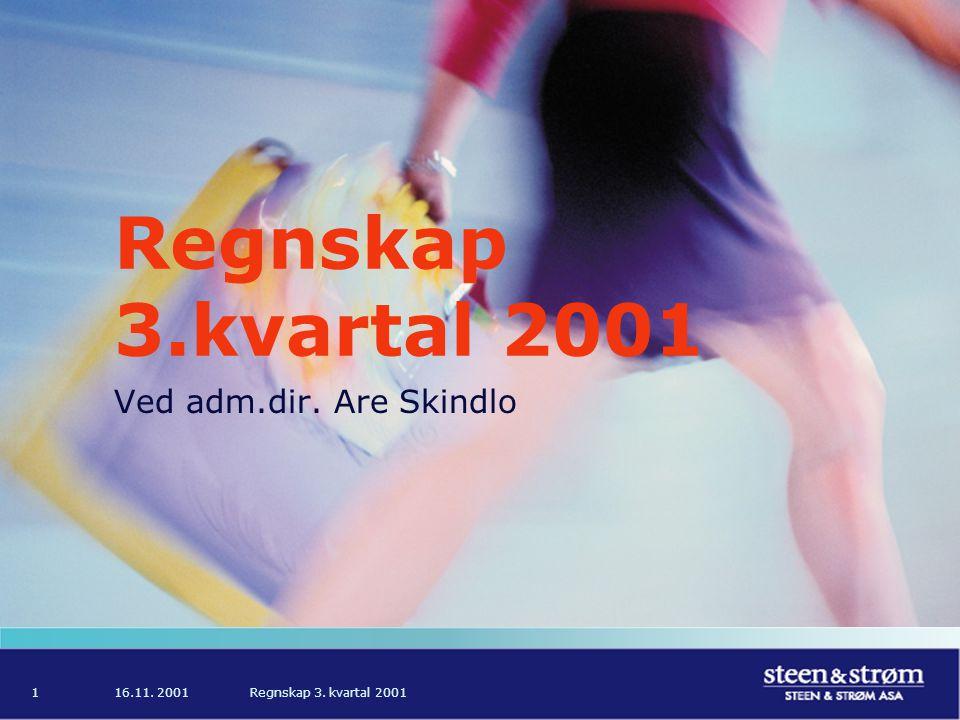 16.11. 2001Regnskap 3. kvartal 20011 Ved adm.dir. Are Skindlo