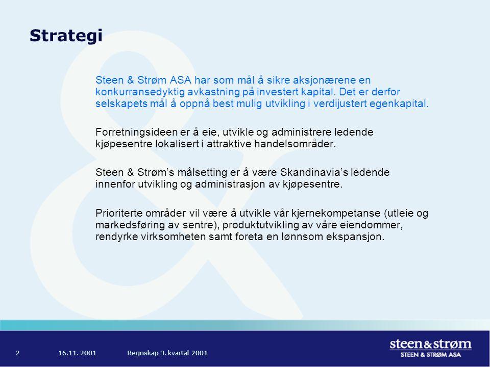 16.11. 2001Regnskap 3. kvartal 20012 Strategi Steen & Strøm ASA har som mål å sikre aksjonærene en konkurransedyktig avkastning på investert kapital.
