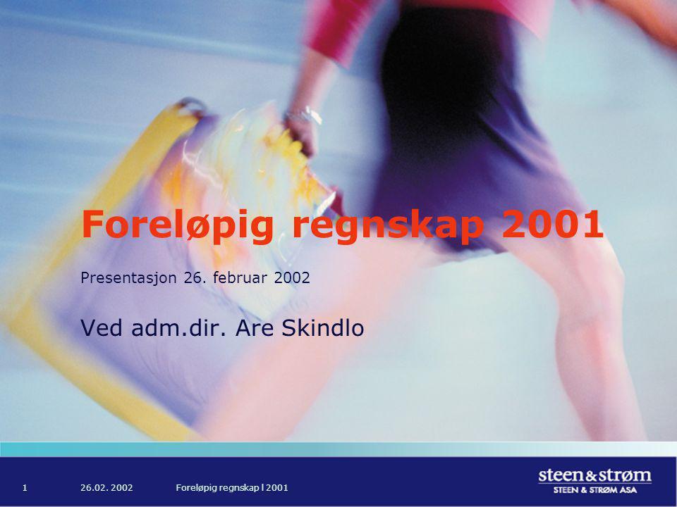 26.02. 2002Foreløpig regnskap l 20011 Foreløpig regnskap 2001 Presentasjon 26.