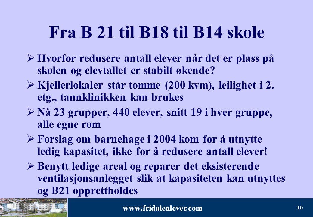 www.fridalenlever.com 10 Fra B 21 til B18 til B14 skole  Hvorfor redusere antall elever når det er plass på skolen og elevtallet er stabilt økende? 