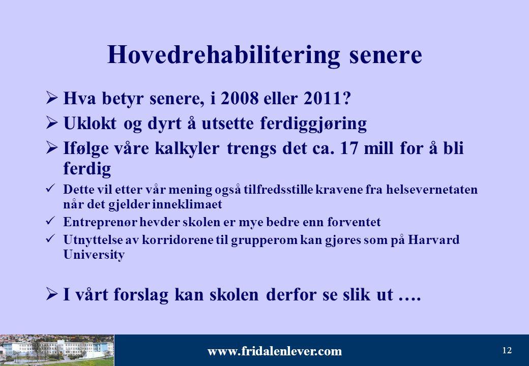 www.fridalenlever.com 12 Hovedrehabilitering senere  Hva betyr senere, i 2008 eller 2011?  Uklokt og dyrt å utsette ferdiggjøring  Ifølge våre kalk