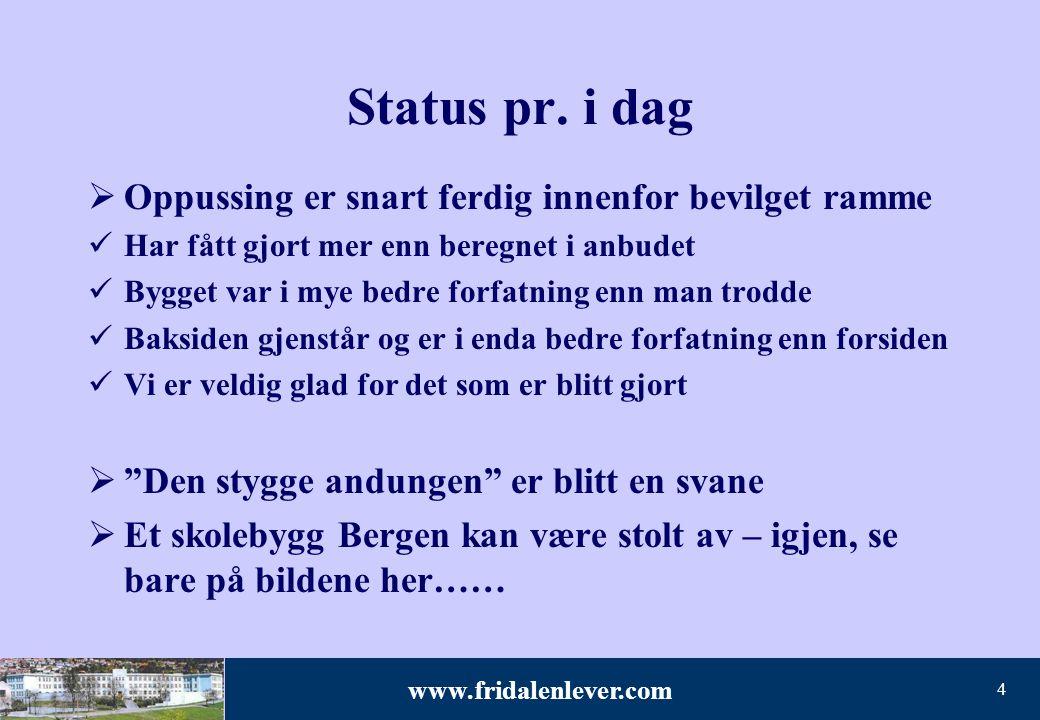 www.fridalenlever.com 4 Status pr. i dag  Oppussing er snart ferdig innenfor bevilget ramme Har fått gjort mer enn beregnet i anbudet Bygget var i my