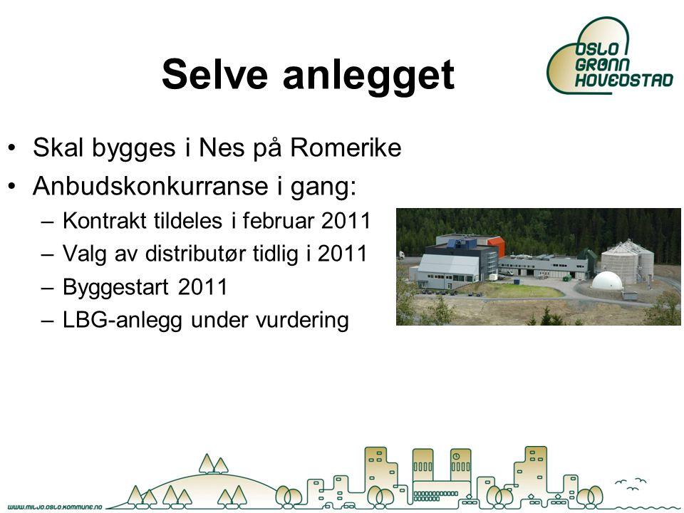 Selve anlegget Skal bygges i Nes på Romerike Anbudskonkurranse i gang: –Kontrakt tildeles i februar 2011 –Valg av distributør tidlig i 2011 –Byggestar