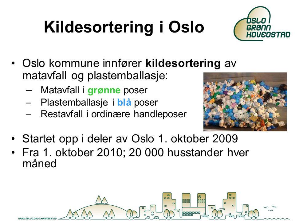 Kildesortering i Oslo Oslo kommune innfører kildesortering av matavfall og plastemballasje: – Matavfall i grønne poser –Plastemballasje i blå poser –R