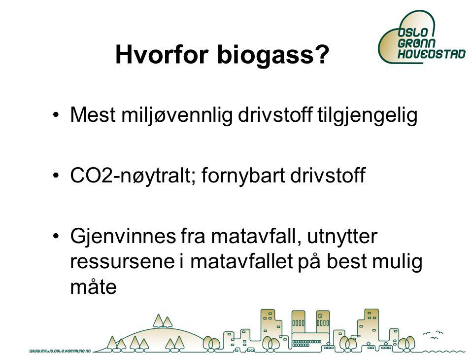 Hvorfor biogass? Mest miljøvennlig drivstoff tilgjengelig CO2-nøytralt; fornybart drivstoff Gjenvinnes fra matavfall, utnytter ressursene i matavfalle