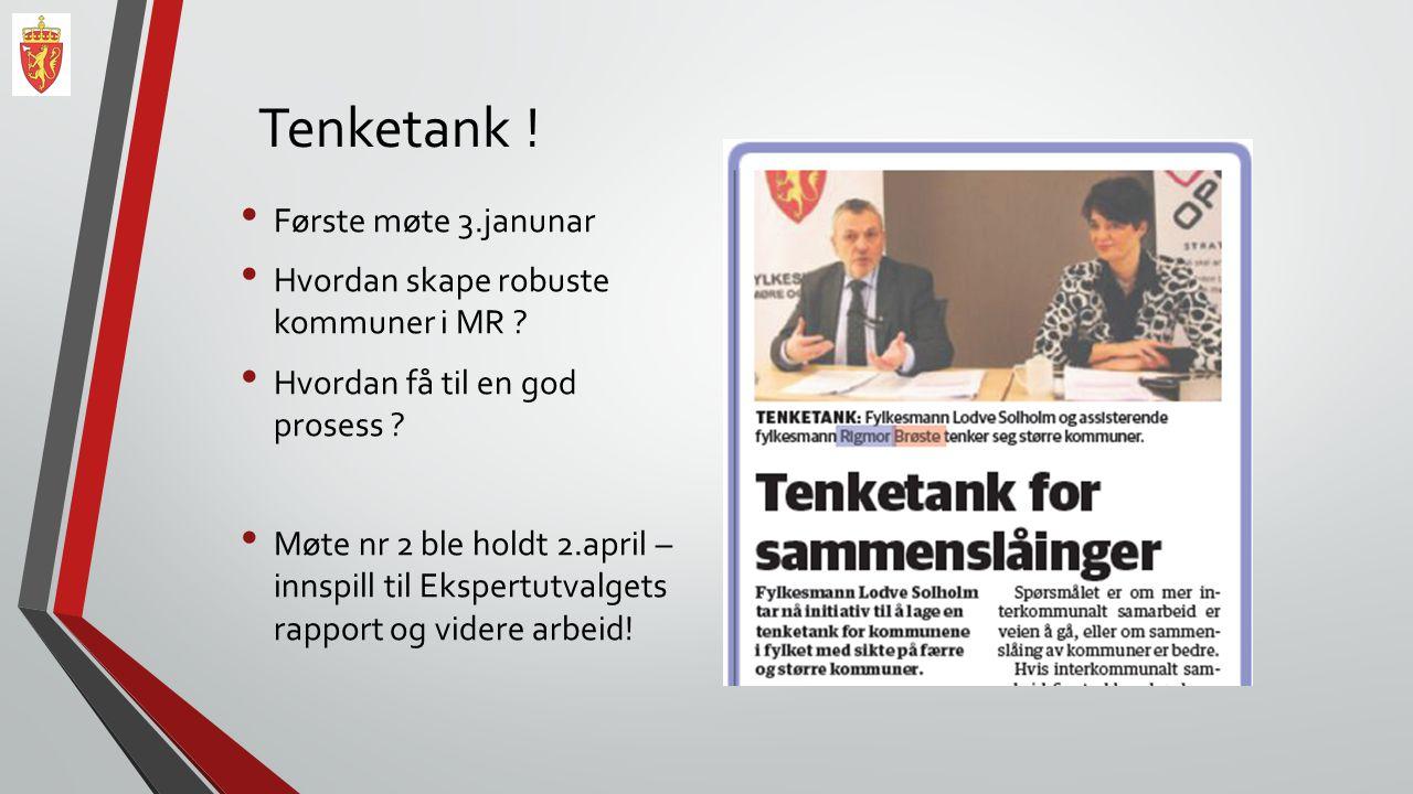 Tenketank ! Første møte 3.janunar Hvordan skape robuste kommuner i MR ? Hvordan få til en god prosess ? Møte nr 2 ble holdt 2.april – innspill til Eks