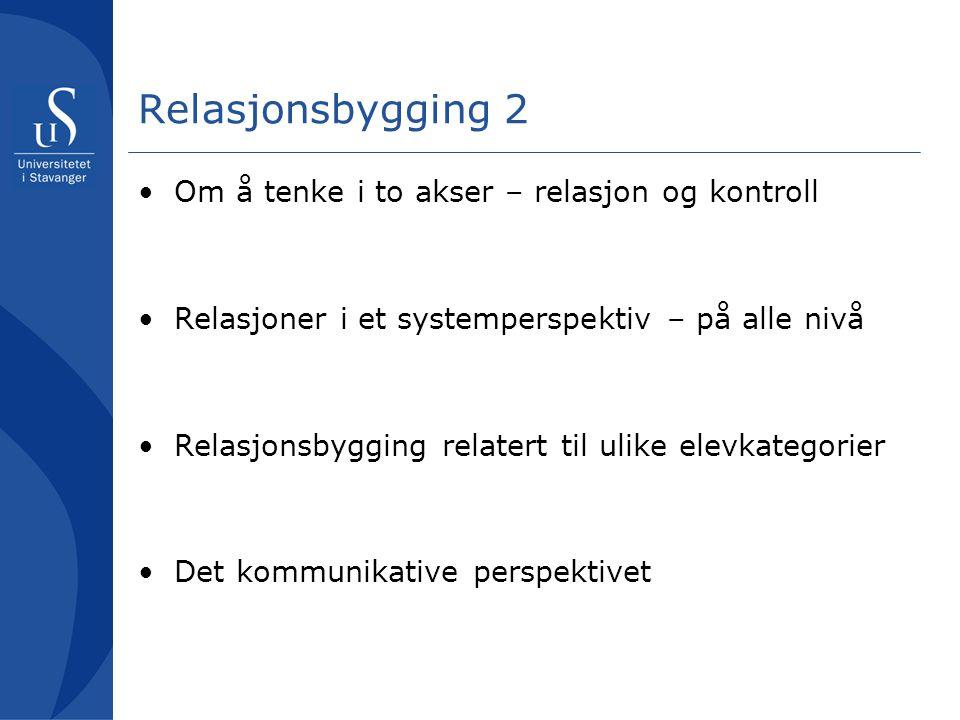 Relasjonsbygging 2 Om å tenke i to akser – relasjon og kontroll Relasjoner i et systemperspektiv – på alle nivå Relasjonsbygging relatert til ulike el