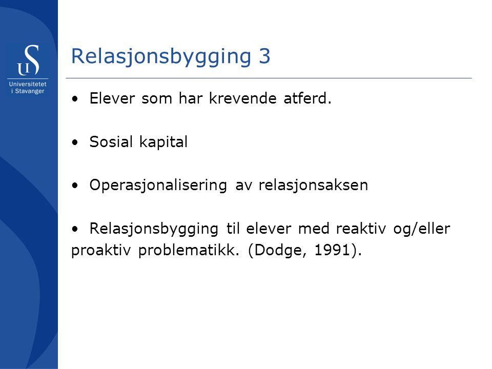 Relasjonsbygging 4 Dynamikken mellom relasjonsaksen og kontrollaksen.